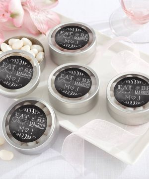 Personalized Silver Round Candy Tin - Eat, Drink & Be Married (Set of 12)