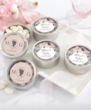Personalized Silver Round Candy Tin - English Garden (Set of 12)