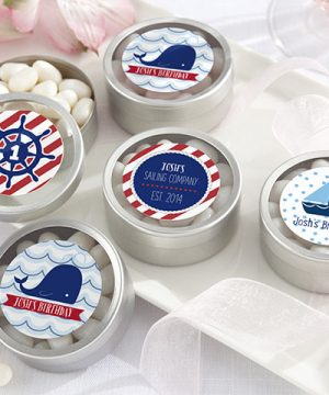Personalized Silver Round Candy Tin - Nautical Birthday Collection (Set of 12)