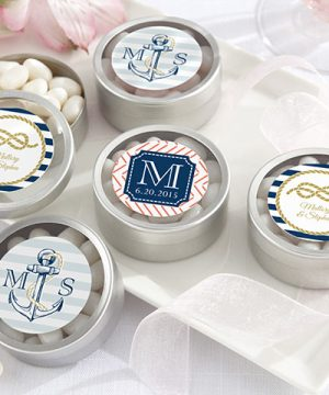 Personalized Silver Round Candy Tin - Nautical Wedding Collection (Set of 12)