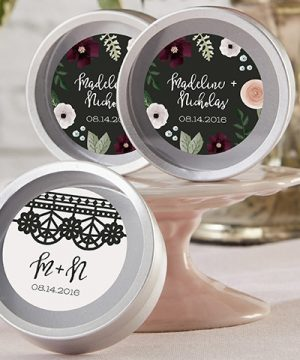 Personalized Silver Round Candy Tin - Romantic Garden (Set of 12)