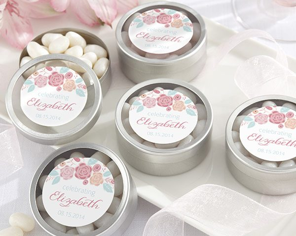 Personalized Silver Round Candy Tin - Rustic Bridal Shower Collection (Set of 12)