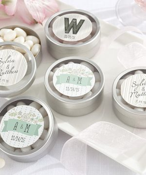 Personalized Silver Round Candy Tin - Rustic Wedding Collection (Set of 12)