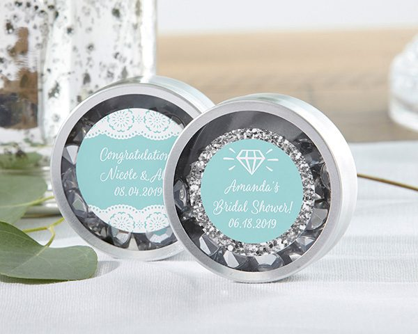 Personalized Silver Round Candy Tin - Something Blue (Set of 12)