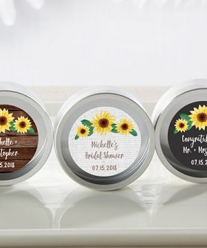 Personalized Silver Round Candy Tin - Sunflower (Set of 12)