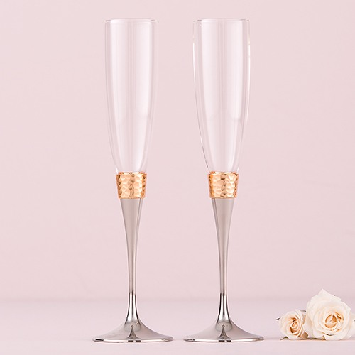 Personalized Silver and Gold Toasting Flutes