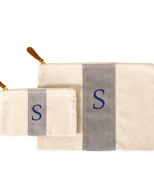Personalized Stitched Stripe Canvas Clutch Set