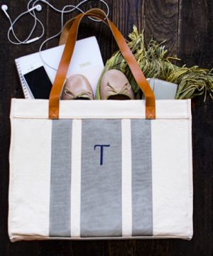 Personalized Stitched Stripe Canvas Tote