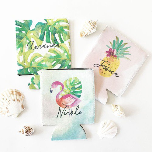 Personalized Tropical Beach Can Coolers