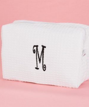 Personalized Waffle-Weave Cosmetic Bag