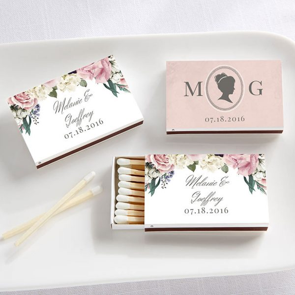 Personalized White Matchboxes - English Garden (Set of 50)