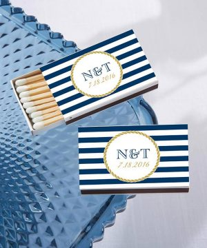Personalized White Matchboxes - Nautical (Set of 50)