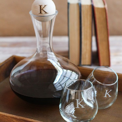 Personalized Wine Decanter with Wood Stopper