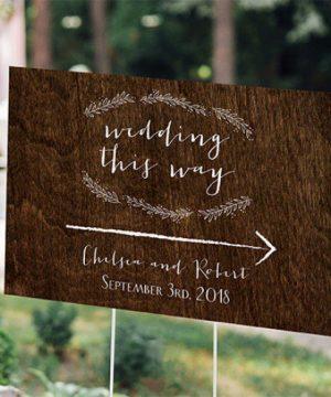 Personalized Woodgrain Wedding Sign