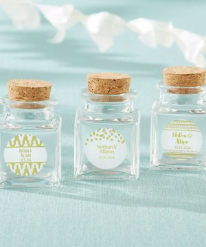 Petite Treat Square Glass Favor Jar - Gold Foil (Set of 12)