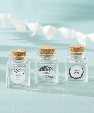 Petite Treat Square Glass Favor Jar - Silver Foil (Set of 12)