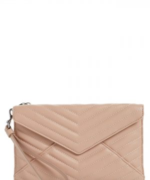 Rebecca Minkoff Leo Quilted Leather Clutch - Beige
