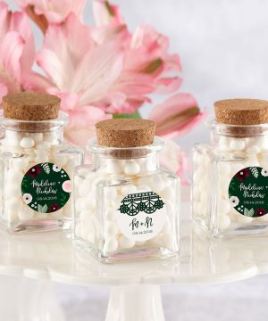 Romantic Garden Petite Square Glass Favor Jar
