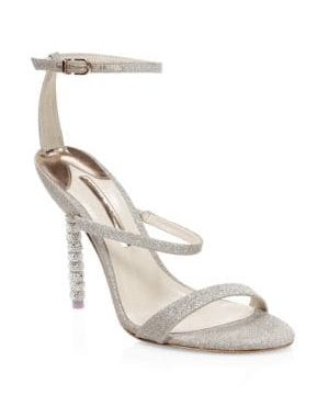 Rosalind Crystal Glitter Leather Ankle-Strap Sandals