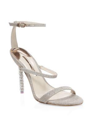 Rosalind Crystal Glitter Leather Ankle-Strap Sandals