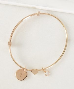 Rose Gold Sliding Heart Pendant Bracelet