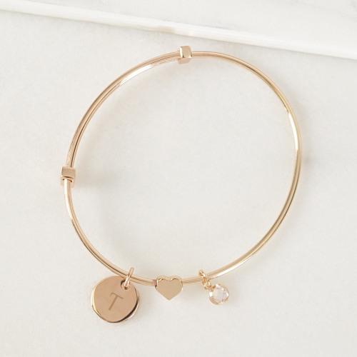Rose Gold Sliding Heart Pendant Bracelet