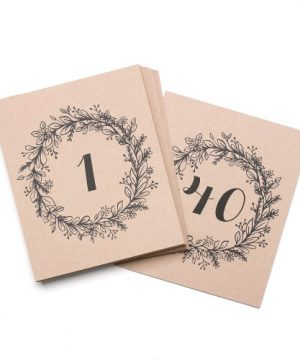 Rustic Wreath Table Numbers 1-40