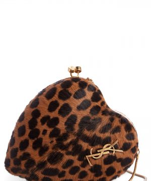 Saint Laurent Love Genuine Calf Skin Frame Clutch -