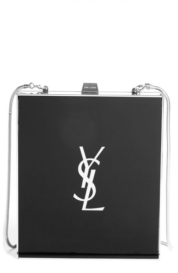 Saint Laurent Tuxedo Plexiglass Clutch -