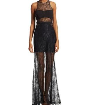 Sheer Lace Evening Gown
