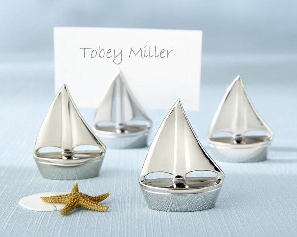 """Shining Sails"" Silver Place Card Holder (Set of 4)"