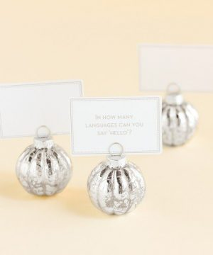 Silver Bauble Placecard Holder
