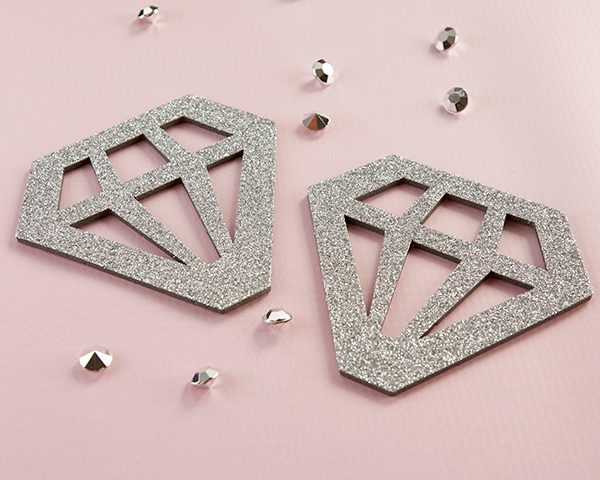 Silver Glitter Diamond Shaped Coaster (Set of 4)