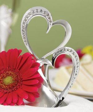 Silver Rhinestone Double Hearts Cake Topper