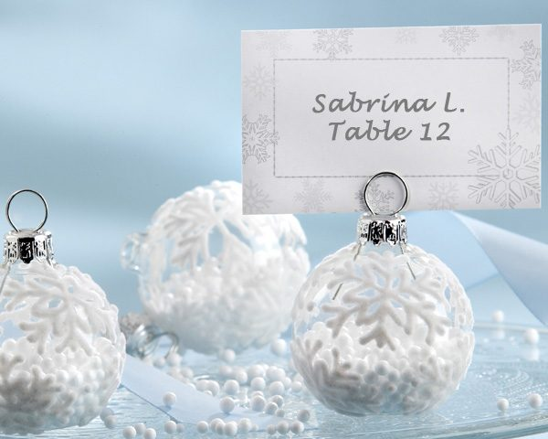 """""""Snow Flurry"""" Flocked Glass Ornament Place Card/Photo Holder (Set of 6)"""