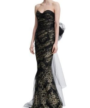 Strapless Metallic Corded Lace Gown