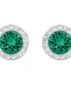 Swarovski Angelic Pierced Earrings, Green, Rhodium Plating