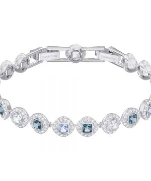 Swarovski Angelic Square Bracelet, Blue, Rhodium plating