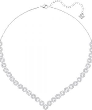 Swarovski Angelic Square Necklace, Large, White, Rhodium plating