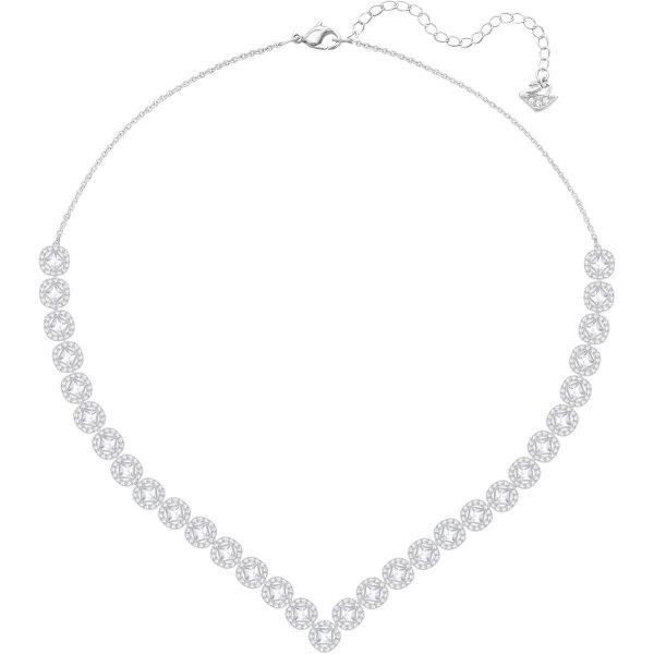 Swarovski Angelic Square Necklace, Large, White, Rhodium plating