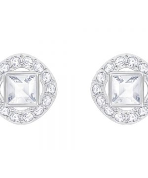 Swarovski Angelic Square Pierced Earrings, White, Rhodium plating