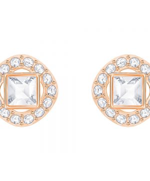 Swarovski Angelic Square Pierced Earrings, White, Rose gold plating