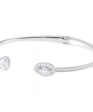 Swarovski Attract Bangle, White, Rhodium plating
