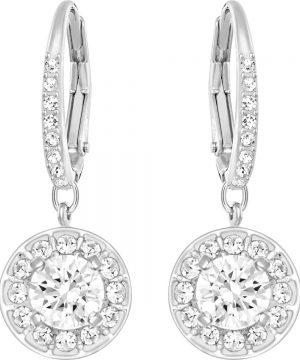 Swarovski Attract Light Pierced Earrings, White, Rhodium plating