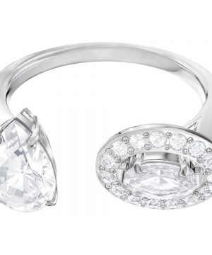 Swarovski Attract Ring, White, Rhodium plating