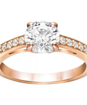 Swarovski Attract Round Ring, White, Rose Gold Plating