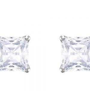 Swarovski Attract Stud Pierced Earrings, White, Rhodium plating