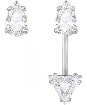 Swarovski Attract Triangle Pierced Earrings with Jacket, White, Rhodium Plating