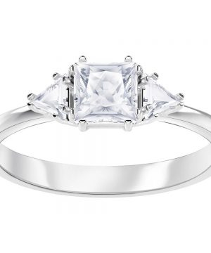 Swarovski Attract Trilogy Ring, White, Rhodium plating