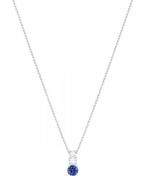 Swarovski Attract Trilogy Round Pendant, Blue, Rhodium plating